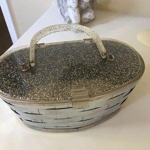 Handbags - Lucite metal basket vintage purse